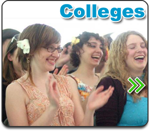college comedy shows button - picture of college girls laughing