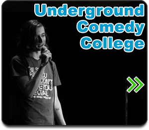 Underground Comedy College button. it shows a young comedian on stage